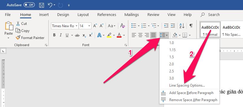 Hoặc bạn nhấn chọn phần Home trên thanh công cụ, tiếp đó nhấn vào tùy chọn Line and Paragraph Spacing → Line Spacing Options...