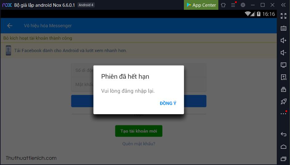 Khóa Messenger trên máy tính thành công