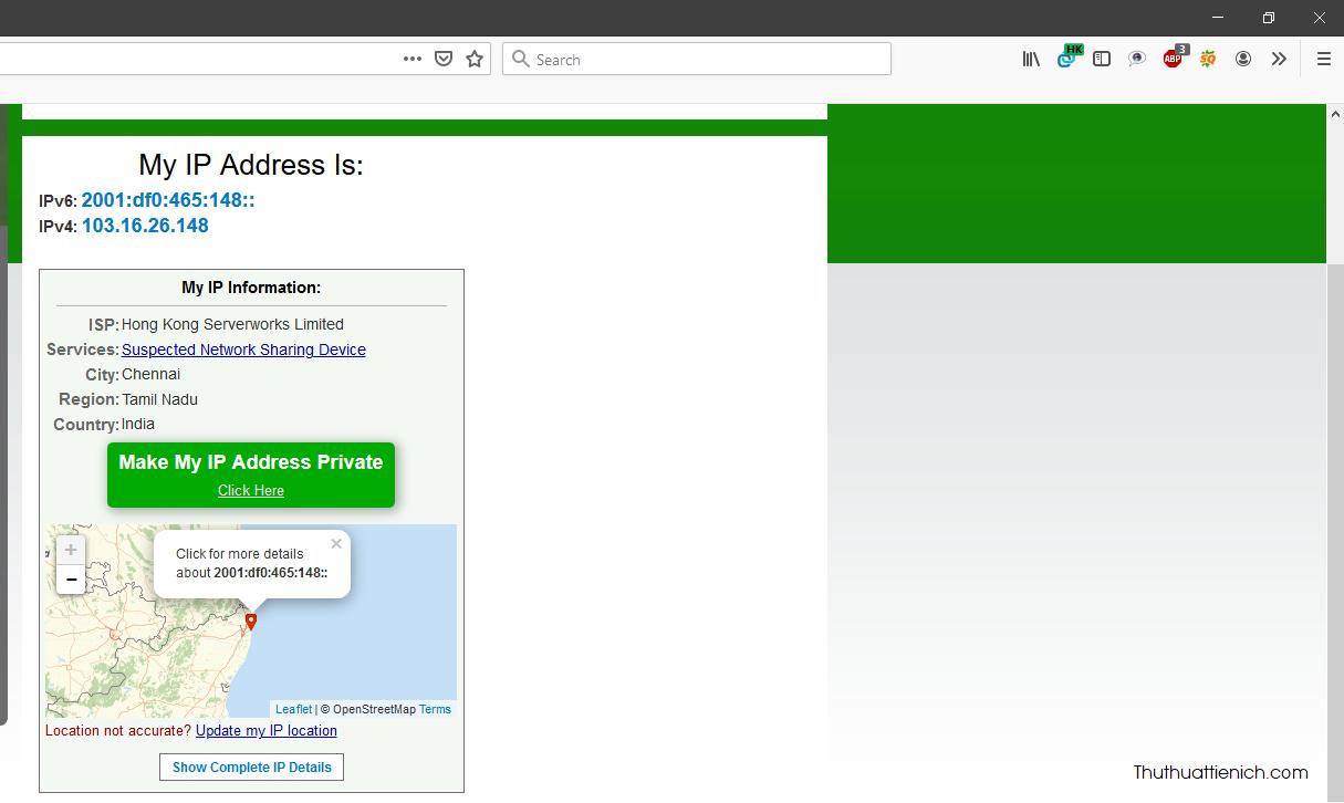 Kiểm tra xem fake IP thành công hay chưa