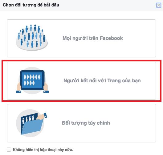 Khi chọn đối tượng bạn có thể xem mục người đã kết nối với trang của mình để phân tích số liệu.