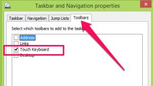 Chọn tab Toolbars sau đó tích vào phần Touch Keyboard