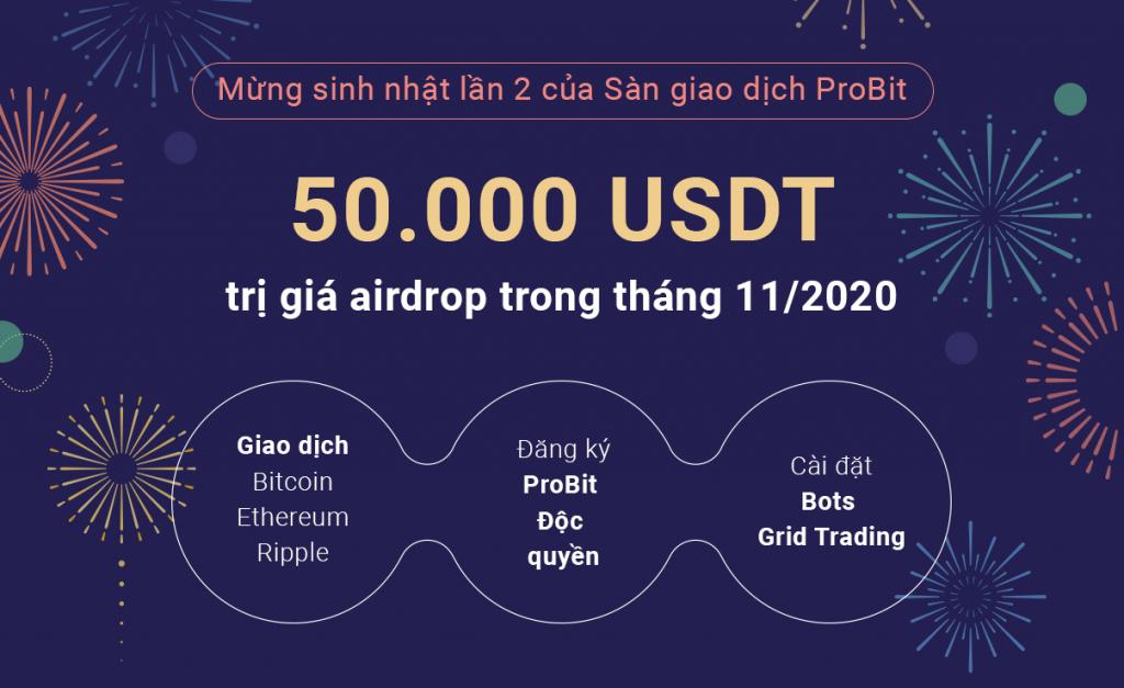 Sự kiện airdrop với tổng giá trị giải thưởng 50.000 USDT