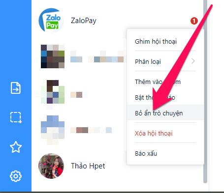 Cách bỏ ẩn tin nhắn Zalo trên máy tính