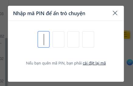 Tạo mã pin hoặc nhập mã pin đã tạo để ẩn tin nhắn