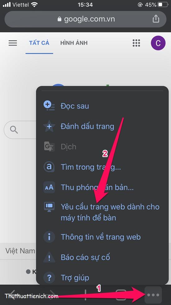 Nhấn nút ... góc dưới cùng bên phải chọn Yêu cầu trang web dành cho máy tính để bàn