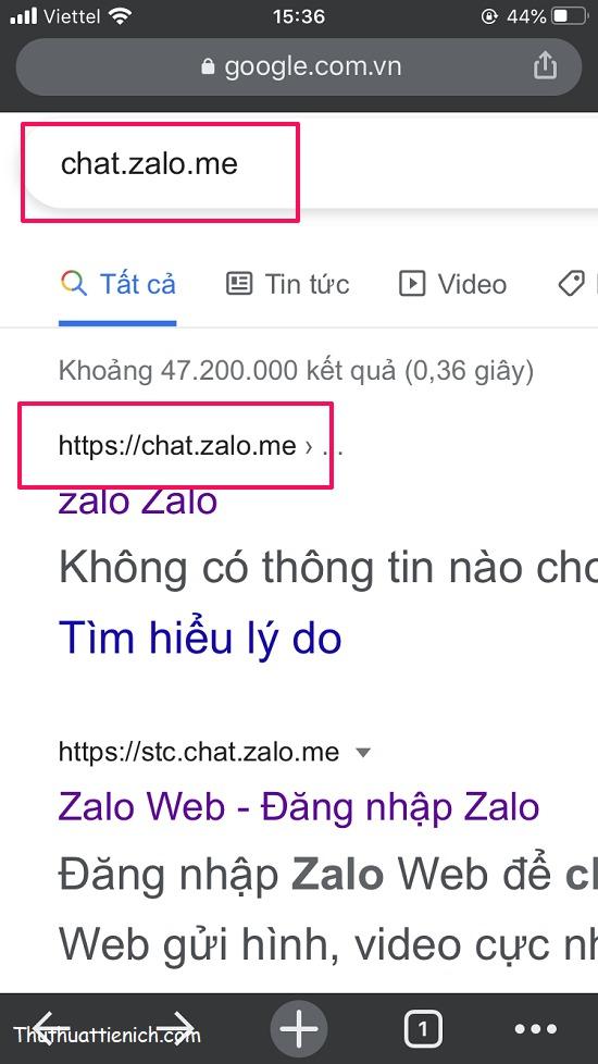 Truy cập chat.zalo.me hoặc id.zalo.me