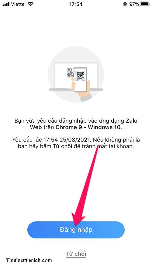 Lúc này ứng dụng Zalo trên điện thoại sẽ hỏi bạn có muốn đăng nhập Zalo Web hay không.  Nhấp vào nút Đăng nhập để tiếp tục