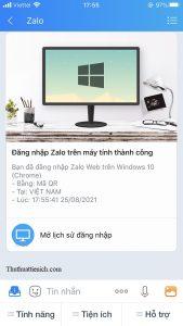 Tin nhắn Zalo gửi cho bạn thông báo Đăng nhập Zalo trên máy tính thành công