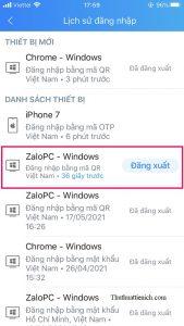 Thiết bị đang đăng nhập Zalo sẽ có nút Đăng xuất (thiết bị đã đăng xuất sẽ có trạng thái Đã đăng xuất)