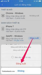 Nhấn nút Đăng xuất nếu bạn muốn đăng xuất Zalo khỏi thiết bị đó