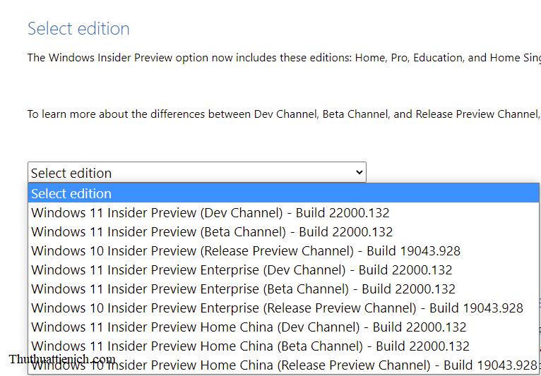 Chọn phiên bản Windows 11 Insider Preview