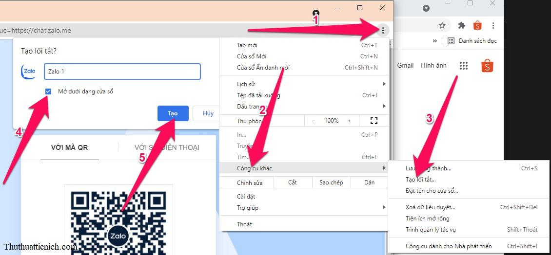 Nhấn nút 3 chấm dọc góc trên cùng bên phải của trình duyệt → Công cụ khác → Tạo lối tắt... → Tích vào phần Mở dưới dạng cửa sổ → Tạo