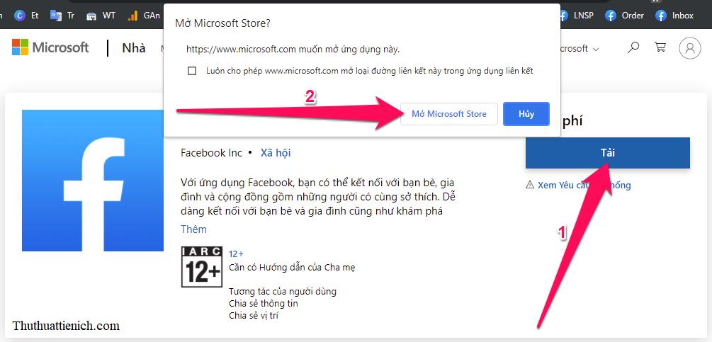 Sau khi nhấn vào liên kết trên, bạn nhấn nút Tải → Mở Microsoft Store