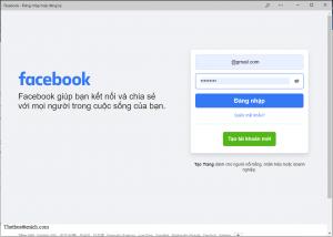 Giao diện ứng dụng Facebook cho máy tính
