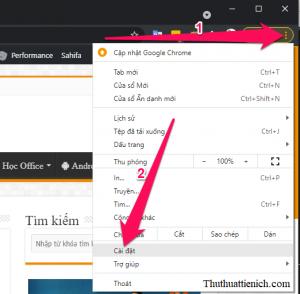 Nhấn nút 3 chấm dọc góc trên cùng bên phải cửa sổ trình duyệt Chrome, chọn Cài đặt