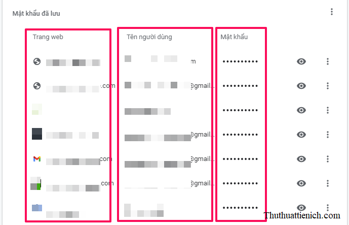 Ở đây bạn sẽ thấy toàn bộ các trang web đã được lưu mật khẩu trên trình duyệt Google Chrome