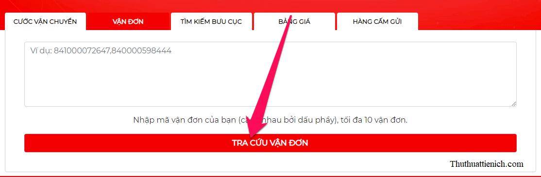 Dán mã vận đơn lấy được ở trên dán vào khung Nhập mã vận đơn của bạn rồi nhấn nút TRA CỨU VẬN ĐƠN